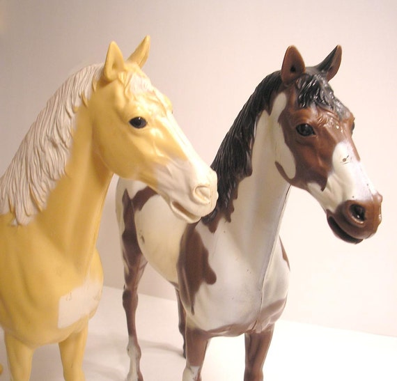 Pair of Vintage Marx Horses Johnny West Thunderbolt and Geronimo's Horse Storm Cloud
