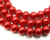 8mm Red Glass Pearl Beads - full strand 32 inch