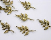 Antique Brass Leaf Tree Branch Pendant 30x20x3mm - 4 pcs