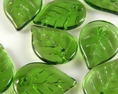 10 pcs - Czech Pressed Olivine Green Glass Leaf Beads 13x18mm