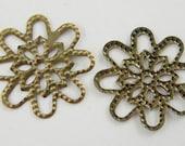 20 Round Antique Brass Filigree Connector Links Flower, Nickel-Free - 17mm