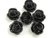 23mm Black Shimmer Rose Lucite Cabochons - 5 pcs