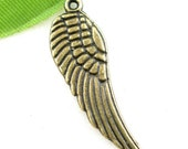 Small Tibetan Antique Brass Wing Pendant, Lead, Nickel and Cadmium Free, 17x5mm - 20 pcs