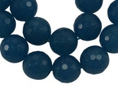 10mm Sea Green Faceted Round Jade Beads, 10 pcs