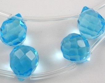 Sky Blue Quartz Faceted Glass Briolette Teardrops, 12x9mm - 18 pcs