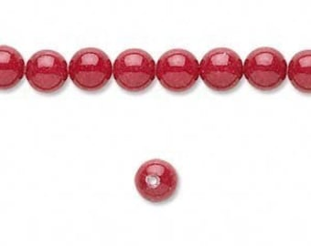 Red Mountain Jade Beads 6mm - 12 pieces
