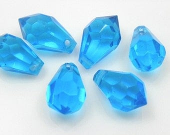 Aqua Blue Faceted Glass Briolette Teardrops, 8x15mm - 24 pcs