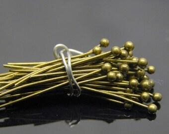 300 pc 22 gauge Antique Brass Ball Headpins, 1.5 inch, 1.5mm ball
