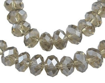 Buy any 4 Glass Rondelle Beads, get 1 FREE - Black Diamond Crystal Faceted Glass Rondelle Beads 12x8mm - 6 pieces