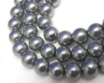 8mm Pewter Glass Pearl Beads - 8 inch strand