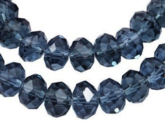 Buy any 4 Glass Rondelle Beads, get 1 FREE - Deep Steel Blue Faceted Glass Rondelle Crystal Beads 8x6mm - 12 pieces