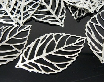 Silver Plated Leaf Pendant, 34x20x0.5mm - 60 pcs