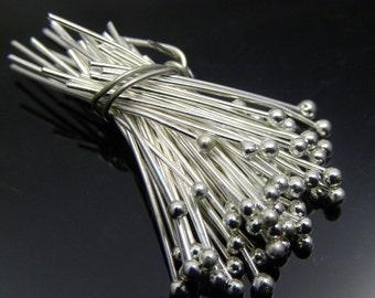 50pc 24 gauge Silver Plated Ball Headpins, 0.75 inch, 1.5mm ball