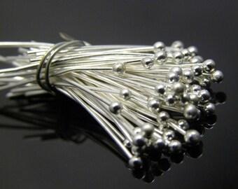 50pc 24 gauge Silver Plated Ball Headpins, 1.57 inch, 1.5mm ball