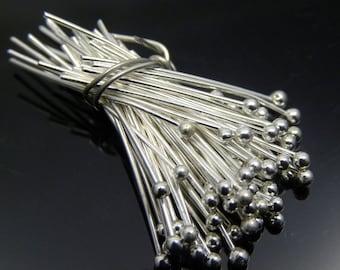 100 pcs, 24 gauge Silver Plated Ball Headpins, 0.75 inch, 1.5mm ball
