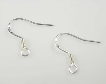 100 pcs - .925 Stamped Sterling Silver Flat Fishhook Earwires with Coil, 6 x 18mm