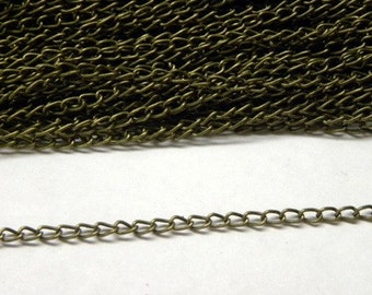 10 ft - Twist Chain, Lead Free and Nickel Free, In Antique Brass, Link: 3x1.6x0.5mm