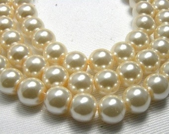 8mm Ivory Glass Pearl Beads - 8 inch strand