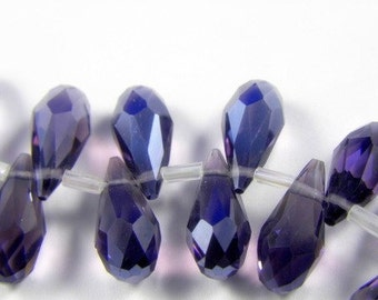 Purple Crystal Faceted Briolette Teardrops, 7X14MM -  6 pcs