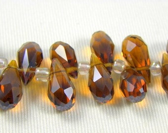 Amber Crystal Faceted Briolette Teardrops, 7X14MM - 6 pcs