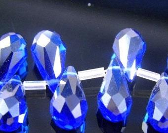 Cobalt Blue Crystal Faceted Briolette Teardrops, 7X14MM - 10 pcs