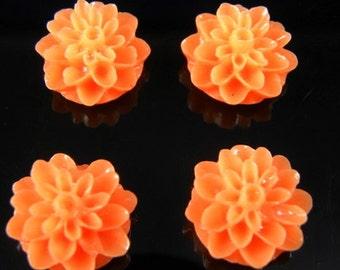 Orange 15mm Dahlia Chrysanthemum Lucite Flower Cabochons, 6 pcs