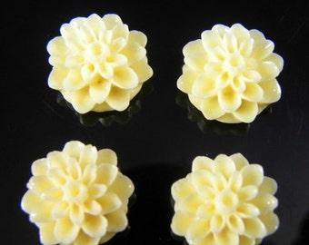 Ivory Cream 15mm Dahlia Chrysanthemum Lucite Flower Cabochons, 6 pcs