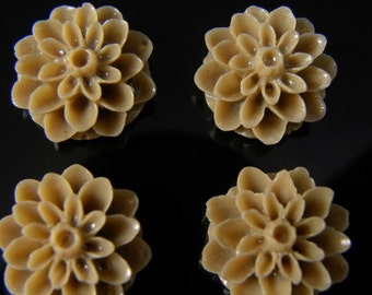 Brown 15mm Dahlia Chrysanthemum Lucite Flower Cabochons, 6 pcs
