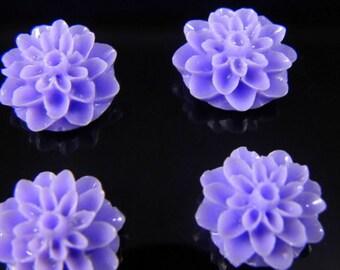 Light Purple 15mm Dahlia Chrysanthemum Lucite Flower Cabochons, 6 pcs