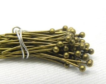 100 pcs, 22 gauge Antique Brass Ball Headpins, 1.57 inch, 1.5mm ball