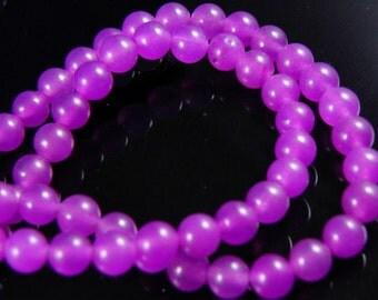6mm PURPLE Round Jade Beads, half strand
