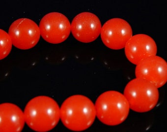 12mm Rusty Orange Round Jade Beads, 3 pcs
