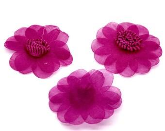 Fuchsia Organza Flowers Wedding Appliques for Scrap booking 45mm - 5pcs
