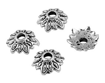 Silver Plated, 8x8x2mm Flower Bead Cap - 25 pcs