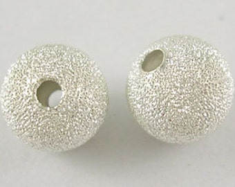 6mm Silver Plated Stardust Beads - 20 pcs