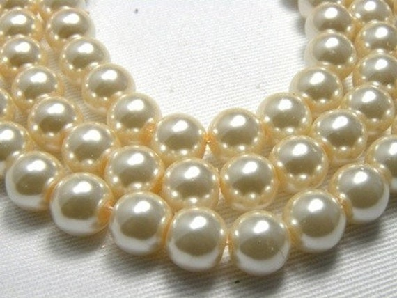 8mm Ivory Glass Pearl Beads - full strand 16 inch