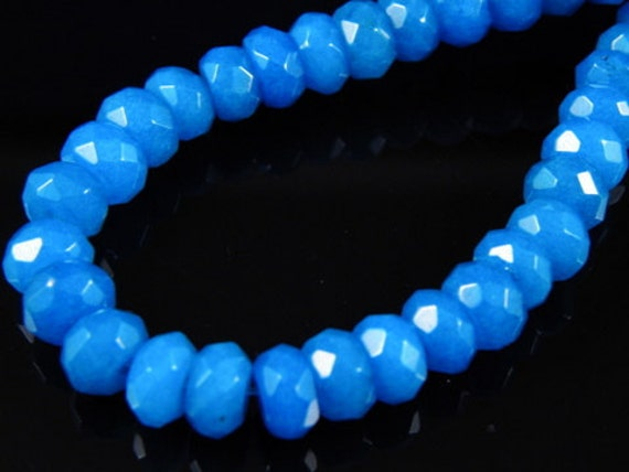10 pc- Faceted Blue Rondelle Jade Beads, 8x5mm