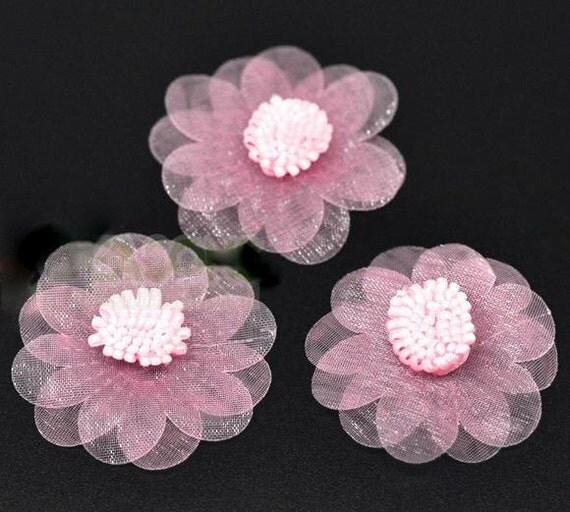 Pink organza flowers wedding appliques for scrap booking 45mm - Appliques flos ...