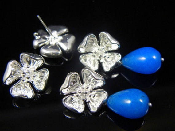 4 pcs - Silver Plated Flower Earring Post Findings  W/ Stoppers & Loop 16x14mm
