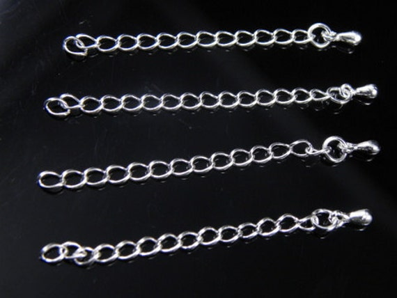 "2"" Chain Extension End Piece with Drop, Silver Plated, 3.5mm wide, 58mm long - 10 pcs"