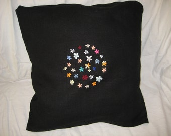 Sale - was 31 USD now 25 USD - Embroidered pillow cover - set of circle blooming flowers