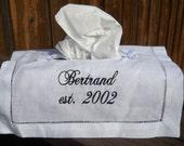 Personalized White linen tissue box cover