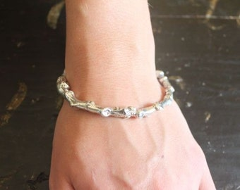 Cast Sterling Silver Cottonwood Branch Bracelet