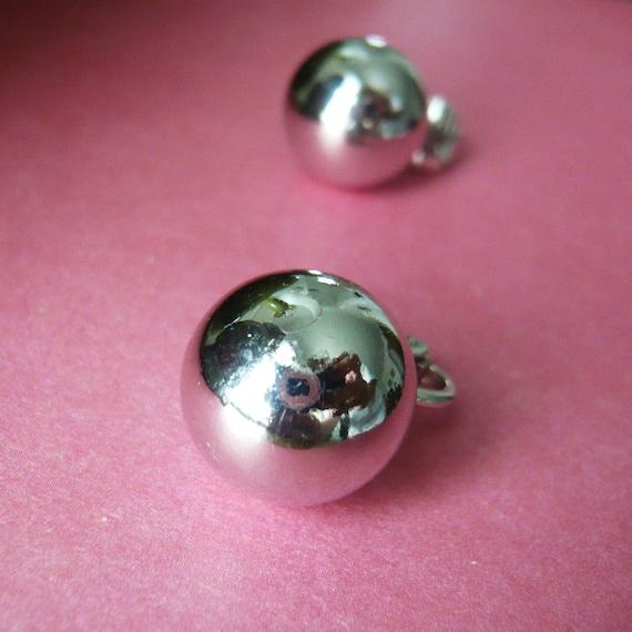 Chrome Globe Clip-on Earrings