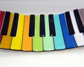 Rainbow Piano Keys Fused Glass Plate