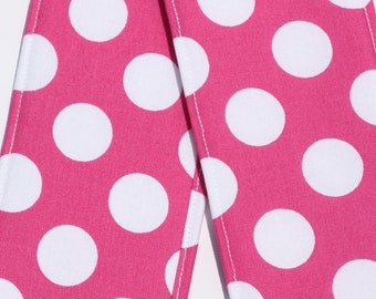 Camera Strap Cover with lens cap pocket and padding included - Pink Polka Dot