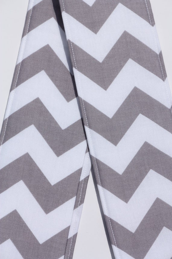 Camera Strap Cover- lens cap pocket and padding included- Grey Chevron