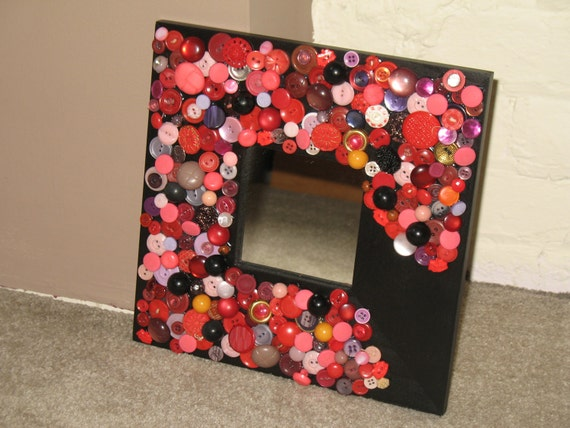 Red Buttons Square Embellished Mirror