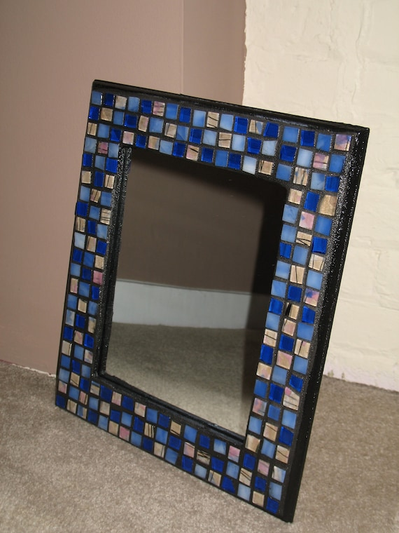 Blue, Purple, Pink, White, and Black Party Mosaic Mirror