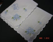 Something blue wedding handkerchief, hand embroidered initial, white only, bouquet wrap, bridal gift